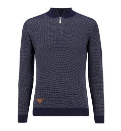 Zip Neck Navy Jumper