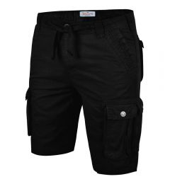 Mens Cargo Shorts-Black-30