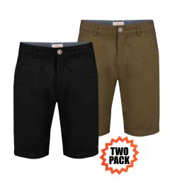 Chino Shorts Two Pack -Black+British Khaki-30