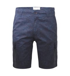 Printed Cargo Shorts-Navy Blue Printed-30